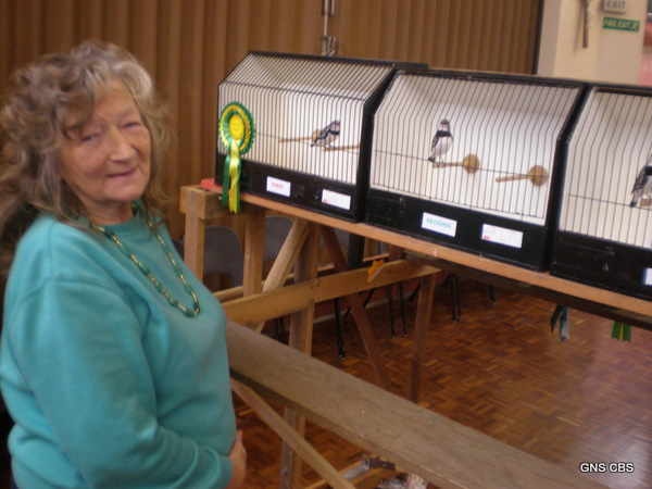 Jean Price with her Diamond Sparrows