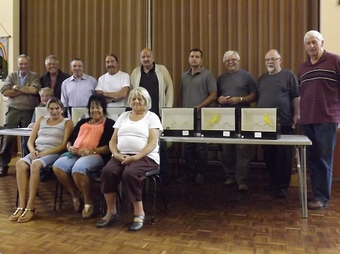 group photograph of members at the July foreign birds and budgerigars table show